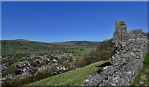 SK1482 : Peveril Castle, Castleton: The walls, all that remains of the New Hall by Michael Garlick