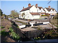 SO9365 : Webbs Cottages and lock, Astwood Lane, Hanbury by Jeff Gogarty