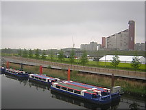 TQ3784 : Tour boats on the Waterworks River, Olympic Park by Christopher Hilton