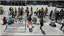 SE2934 : Leeds Space for Cycling ride 2015 - gathering (2) by Stephen Craven