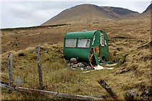 NN3039 : Battered Caravan outside Bridge of Orchy Station by Chris Heaton