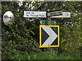TM1449 : Roadsigns & Mirror on Hall Lane by Adrian Cable