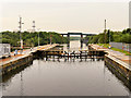 SJ7294 : Irlam Locks, Western Gate by David Dixon