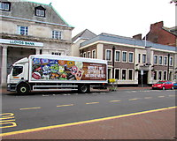 SS7597 : Wetherspoon lorry in Neath town centre by Jaggery
