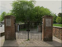 NY6820 : King George playing fields, Appleby: entrance gates by Stephen Craven