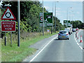 TF4024 : Traffic Cones on the A17 at Gedney by David Dixon