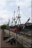 TQ3480 : Two ships in dry dock by DS Pugh