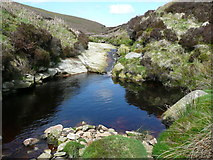 SD9635 : Waterfall on Walshaw Dean Water, Wadsworth by Humphrey Bolton