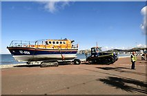 SH7882 : Lifeboat being towed off the promenade by Gerald England