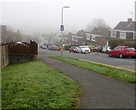 ST3090 : April fog in Rowan Way, Malpas, Newport by Jaggery