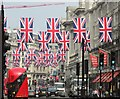 TQ2980 : Union Jacks on Regent Street by Derek Harper