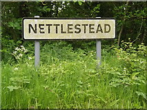 TM0949 : Nettlestead Village Name sign on Nettlestead Road by Adrian Cable