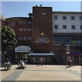 SP3378 : Brick panel with a balcony and a public clock, Broadgate, Coventry by Robin Stott