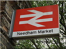 TM0954 : Needham Market Railway Station sign by Adrian Cable