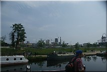TQ3784 : View of new apartments being constructed in the Olympic Village from the River Lea towpath by Robert Lamb