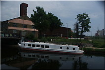TQ3784 : View of a boat moored on the River Lea at Stratford #2 by Robert Lamb