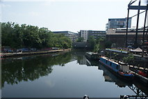TQ3783 : View of the Greenway footbridge from the footbridge by Old Ford Lock by Robert Lamb
