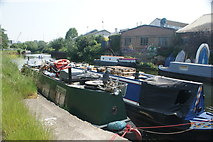 TQ3783 : View of an owl statue on a narrowboat on the River Lea by Robert Lamb