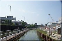 TQ3783 : View back up the River Lea towards the Great Eastern Mainline railway bridge by Robert Lamb
