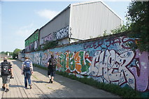 TQ3783 : View of street art on the River Lea towpath #5 by Robert Lamb