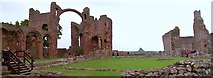 NU1241 : Lindisfarne Priory and Castle by Len Williams