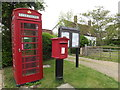 TL9563 : Telephone Box, The Old Post Office Postbox & Notice Board by Adrian Cable