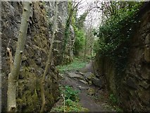 NS4074 : Path beside Dumbarton Rock by Lairich Rig