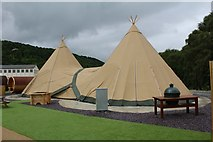 SH7767 : Tepees at Surf Snowdonia by Richard Hoare