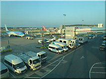 TQ2741 : Service vehicles at London Gatwick Airport North Terminal by Richard Humphrey