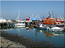 SW4628 : Newlyn Harbour and Penlee lifeboat by Chris Allen