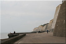TQ4100 : Fishing at the foot of the Peacehaven cliffs by Chris