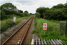 SS0699 : West Wales Line from Manorbier towards Lamphey by Jaggery