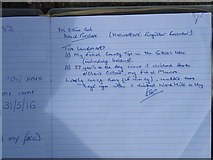 HU3083 : Entry in Ronas Hill summit register by David Purchase