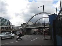 TQ3382 : Railway bridge west of Shoreditch High Street station by John Slater