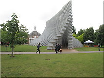 TQ2679 : Serpentine Pavilion 2016, view towards gallery by David Hawgood
