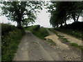NY1134 : Farm track leaving a country road by Graham Robson