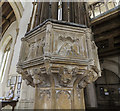 TG1124 : Font and cover, Ss Peter & Paul church, Salle by J.Hannan-Briggs