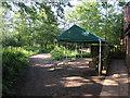TF7443 : Gazebo outside Titchwell RSPB visitor centre by Hugh Venables