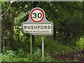TL9281 : Rushford Village Name sign on the C640 Spalding's Chair Hill by Adrian Cable