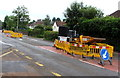 ST3092 : Yellow temporary barriers on Newport Road, Llantarnam, Cwmbran by Jaggery