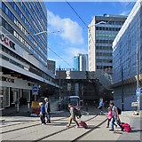 SP0786 : New Street: crossing the tram tracks by John Sutton