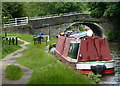SD5407 : Narrowboat moored next to Gathurst Bridge No 46 by Mat Fascione