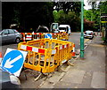 SZ0791 : Yellow temporary barriers, Cambridge Road, Bournemouth by Jaggery