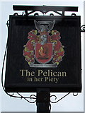 SS8876 : The Pelican in her Piety name sign, Ogmore by Jaggery