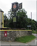 SS8876 : Wall postbox and pub name sign, Ogmore by Jaggery