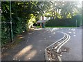 SZ0992 : Malmesbury Park: footpath C18 crosses the Portchester Road dead end by Chris Downer