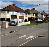 ST3487 : Liswerry Road speed bump and semis, Newport by Jaggery