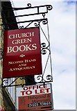 SP3509 : Church Green Books (2) - sign, 46 Market Square, Witney, Oxon by P L Chadwick