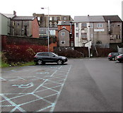 ST1599 : Blue marked area on a town centre car park, Bargoed by Jaggery