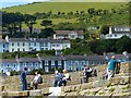 SN3960 : Relaxing on the harbour wall, New Quay, Ceredigion by Robin Drayton